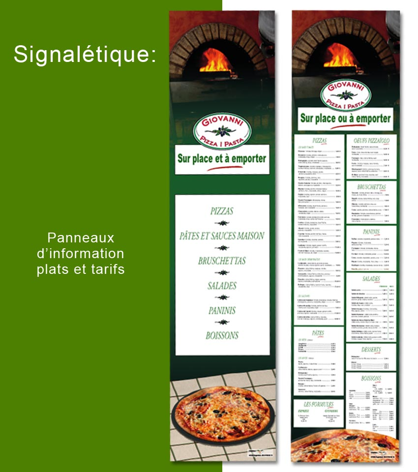 signalétique et packaging: panneaux d'information tarifs pizzéria