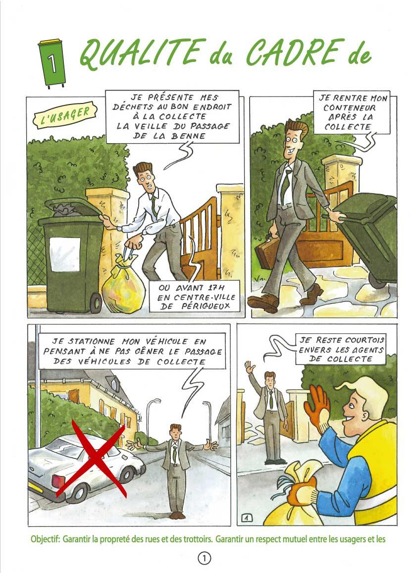 Communication BD: La charte qualité des déchets en Bande Dessinée-p1