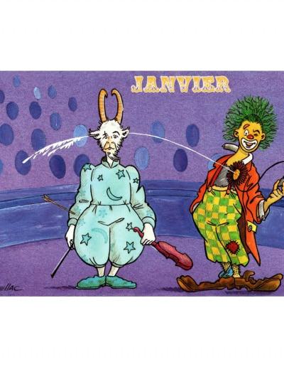 Carte postale illustrée sur les thèmes du cirque et du Zodiaque. Janvier