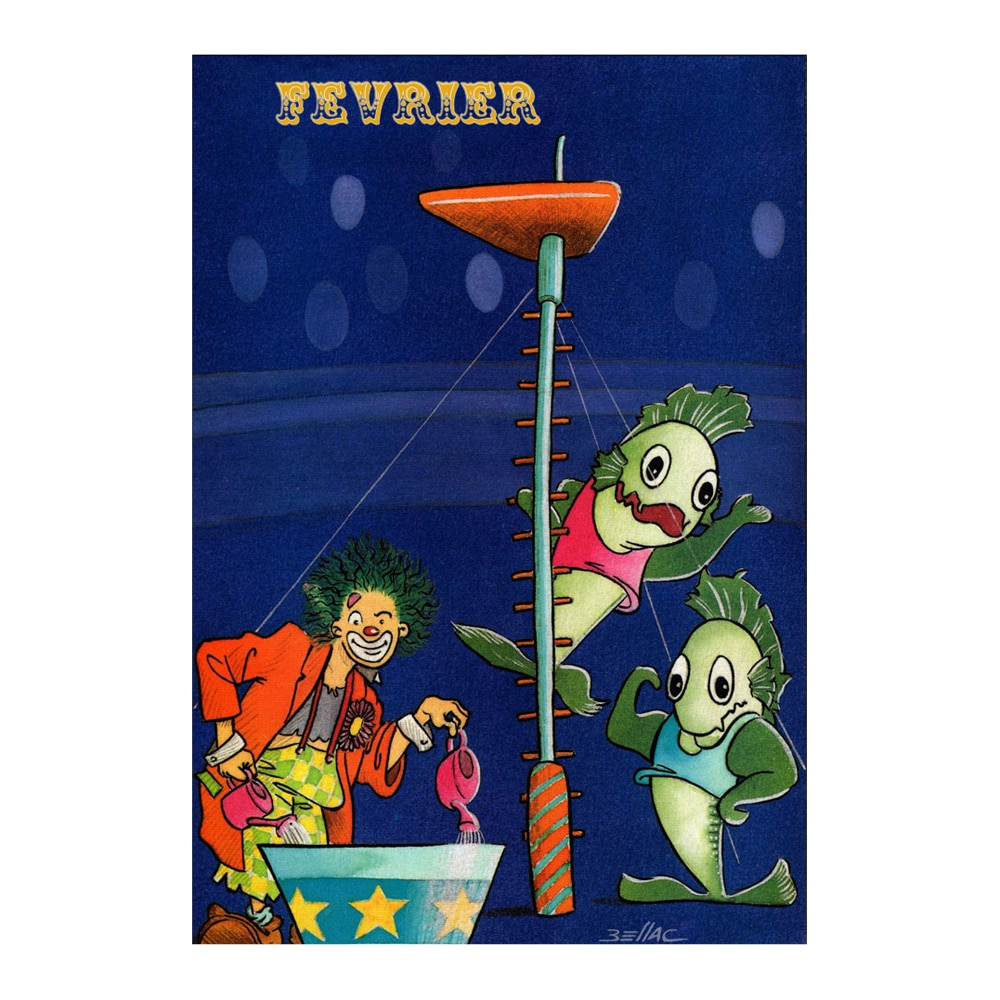 Carte postale illustrée sur les thèmes du cirque et du Zodiaque. Février