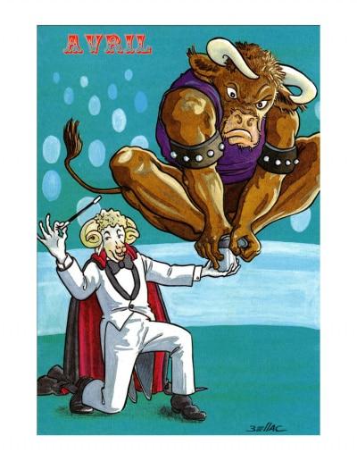 Carte postale illustrée sur les thèmes du cirque et du Zodiaque. Avril