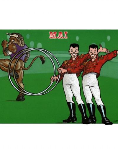 Carte postale illustrée sur les thèmes du cirque et du Zodiaque. Mai