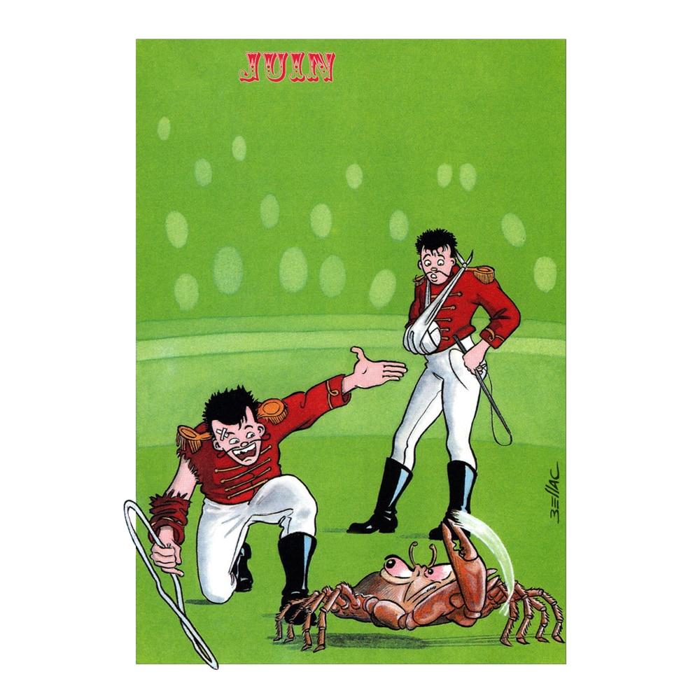 Carte postale illustrée sur les thèmes du cirque et du Zodiaque. juin