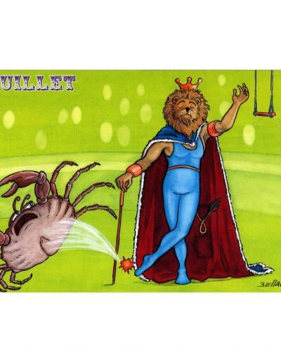 Carte postale illustrée sur les thèmes du cirque et du Zodiaque. Juillet