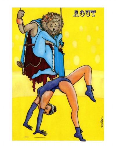 Carte postale illustrée sur les thèmes du cirque et du Zodiaque. Août
