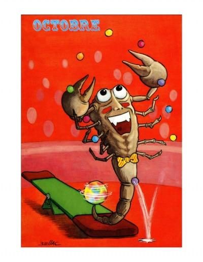 Carte postale illustrée sur les thèmes du cirque et du Zodiaque. Octobre