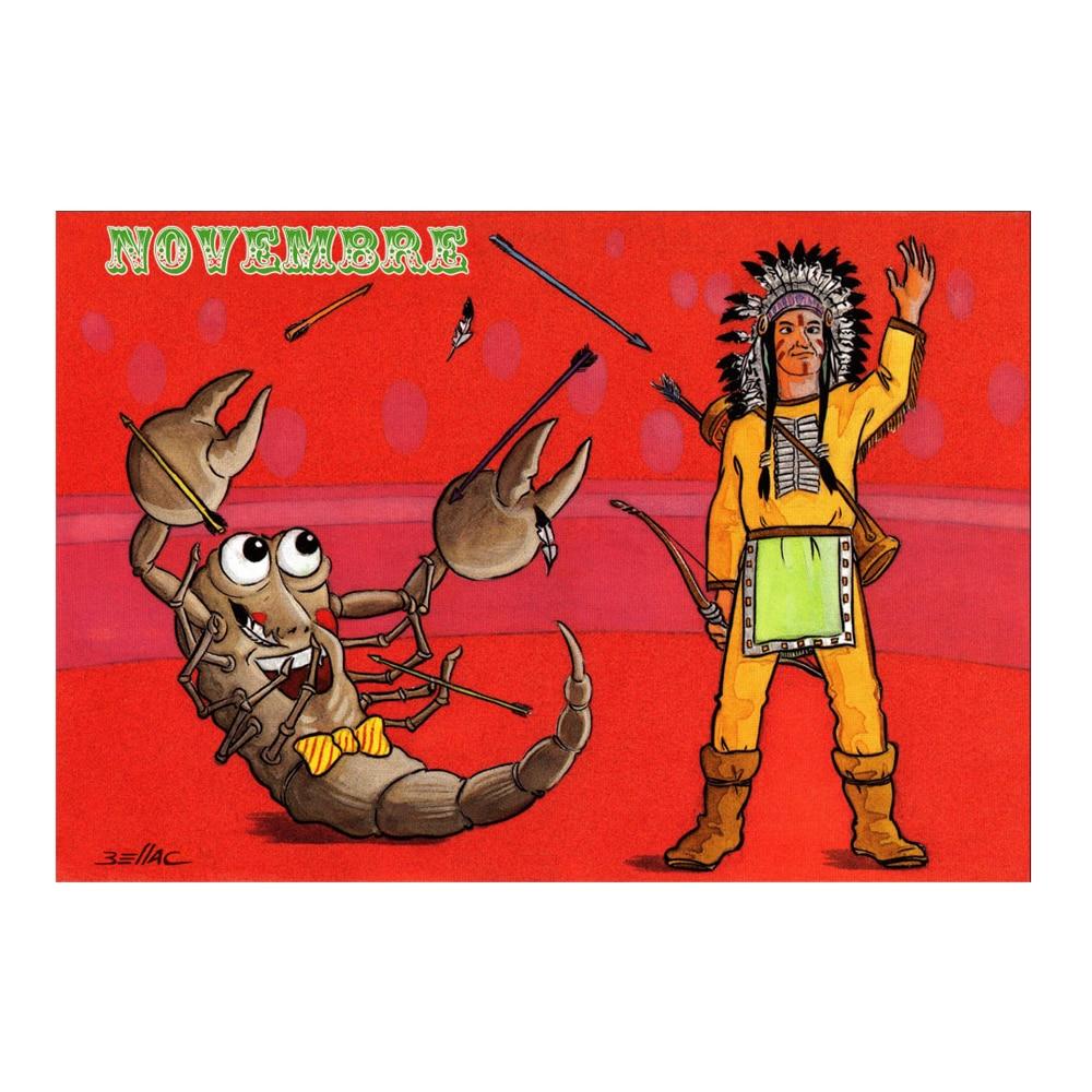 Carte postale illustrée sur les thèmes du cirque et du Zodiaque. Novembre