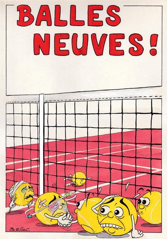 illustration aux encres de couleur - Humour Tennis : balles neuves
