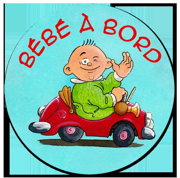 illustration aux encres de couleur - macaron bébé à bord