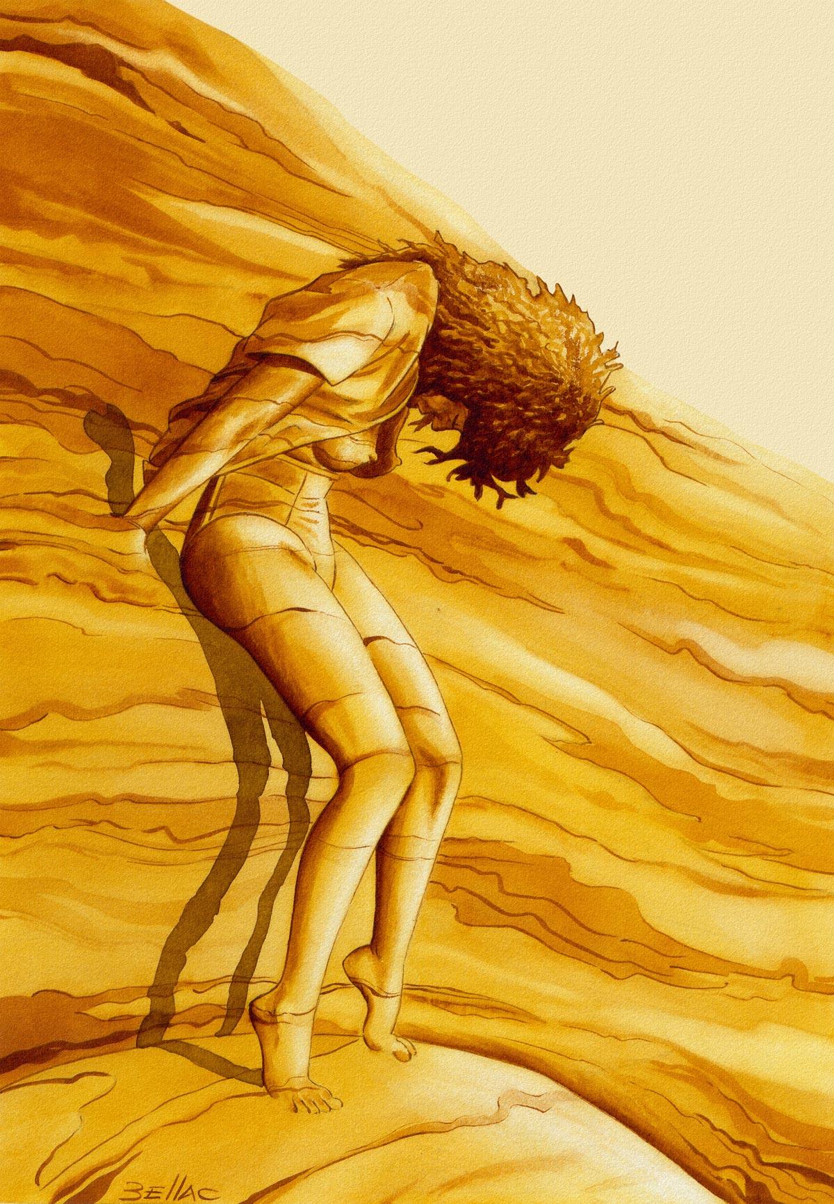 illustration aux encres de couleur - d'après photo de Conrad-Godly
