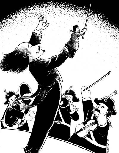 illustration à l'encre noire - Guignol dirige la fanfare