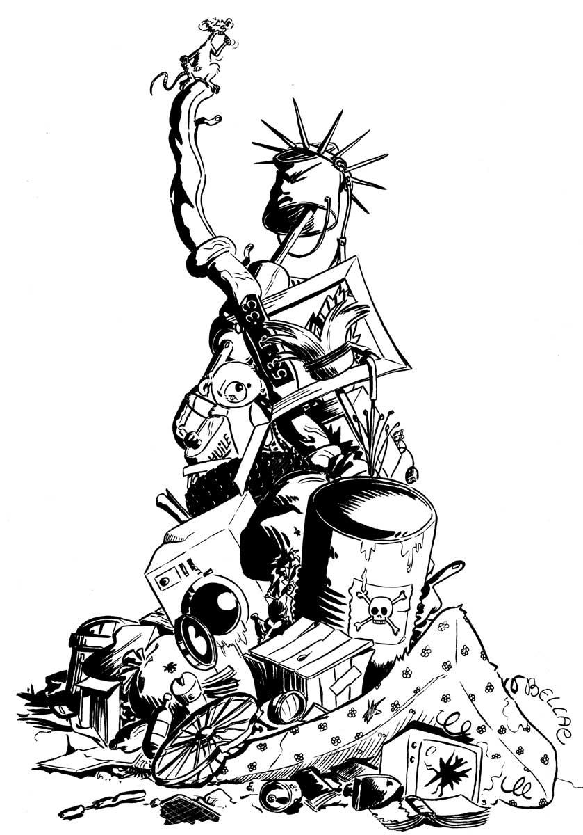 illustration à l'encre noire - La Liberté recyclée