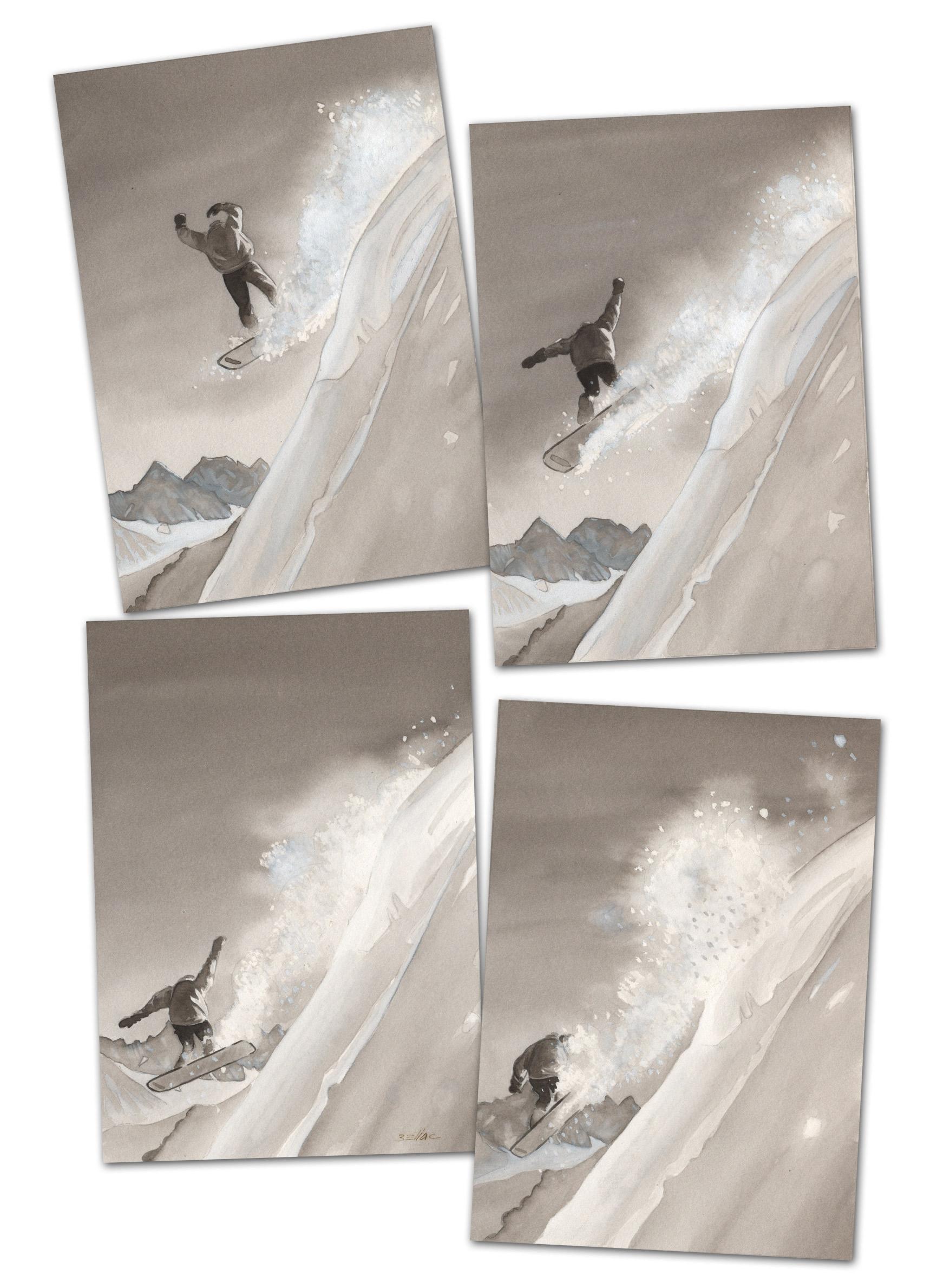 illustration au lavis - Snowboard