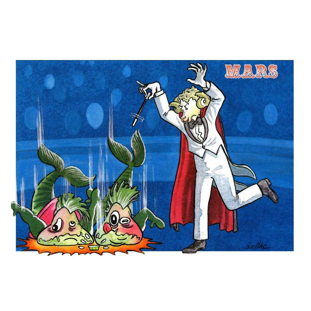 Carte postale illustrée sur les thèmes du cirque et du Zodiaque. Mars