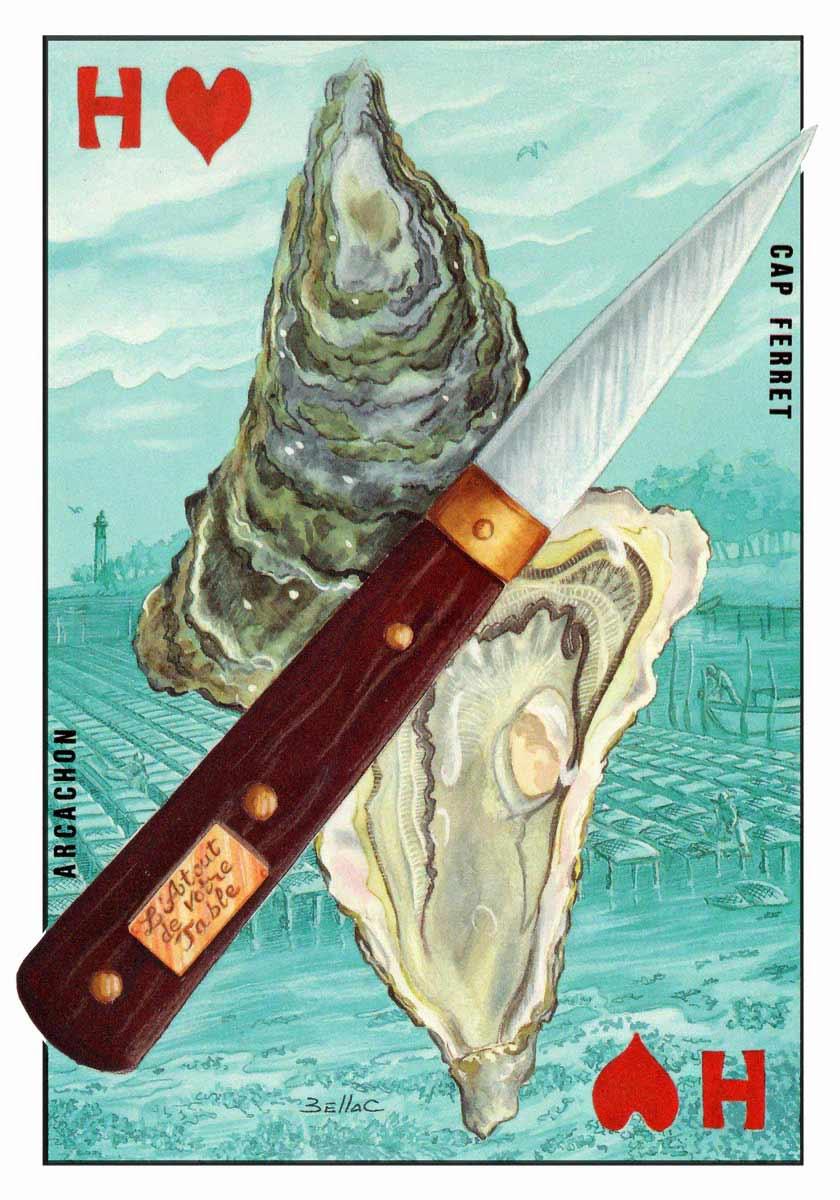 illustration aux encres de couleur - Huîtres d'Arcachon - Cap Ferret