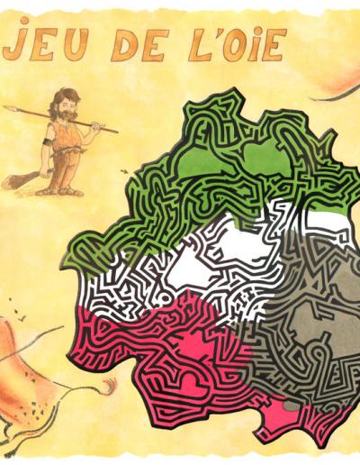 illustration aux encres de couleur - Labyrinthe périgourdin-jeu de l'oie