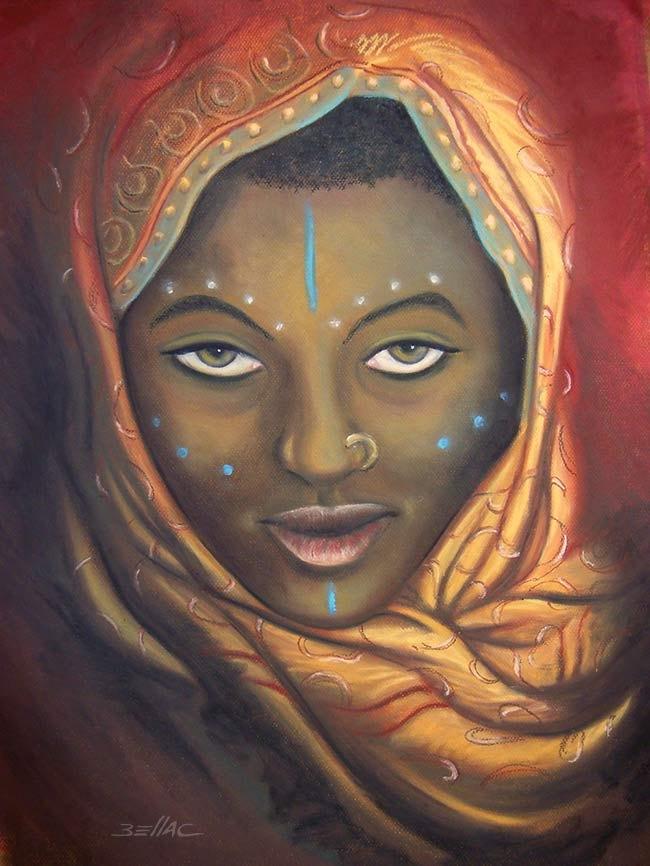 Portrait de femme Afar au pastel gras