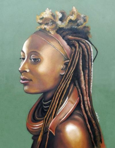 Portrait de Himba au pastel gras