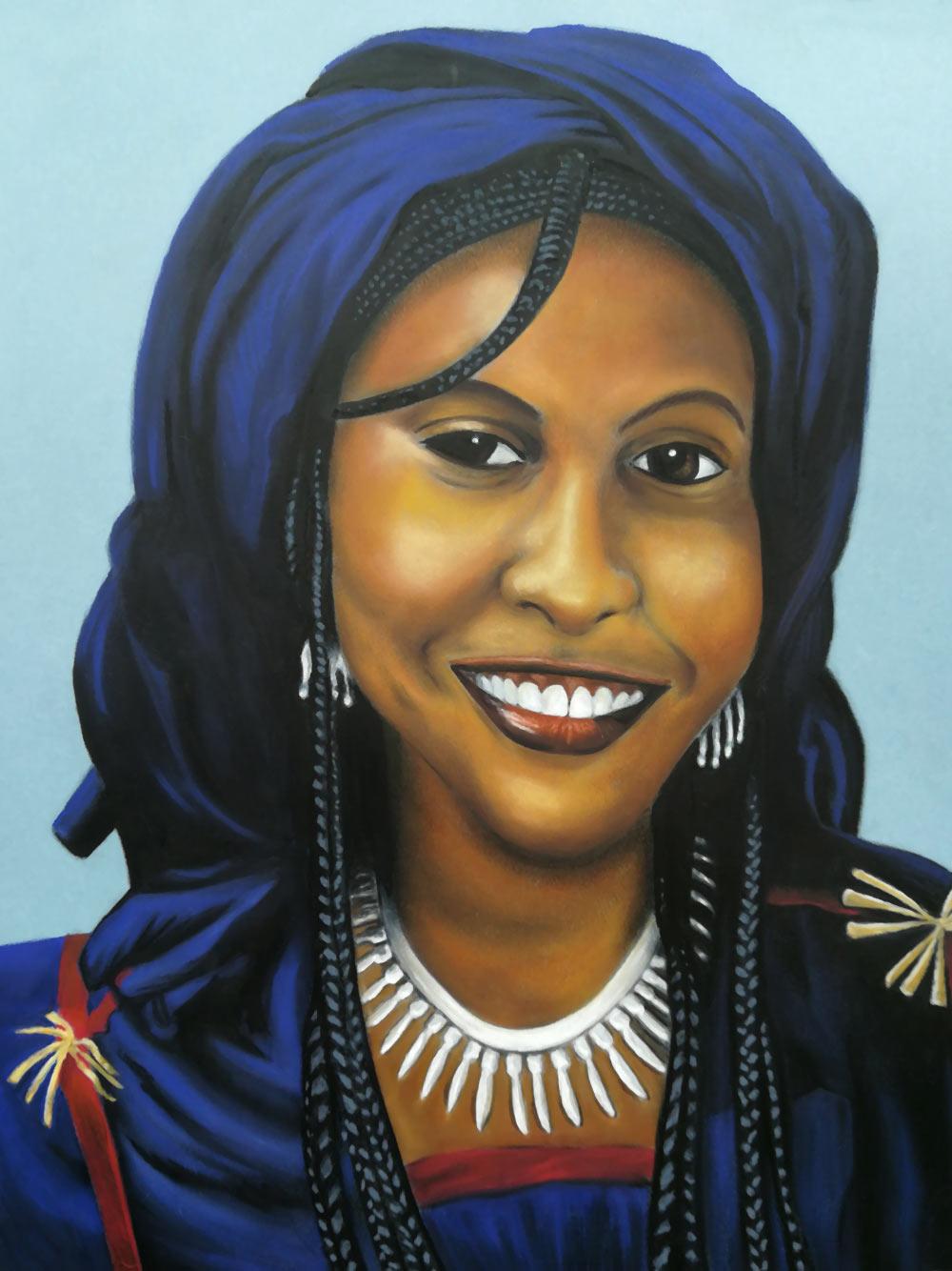 Portrati de femme Touareg au pastel gras