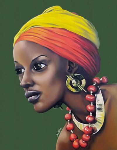 Portrait d'africaine au pastel gras