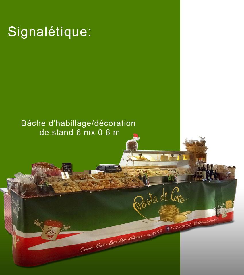 création signalétique : Bache d'habillage-décoration pour stand de spécialités italiennes